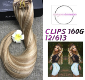extension à clips  BLOND FONCE MECHE BLOND CLAIRE 160G