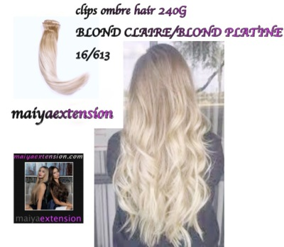 extension à clips ombre hair, tye and die ,blond claire /platine