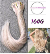 EXTENSION CLIP DE 50 A 65 CM BLOND CLAIRE  MECHE PLATINE 160G
