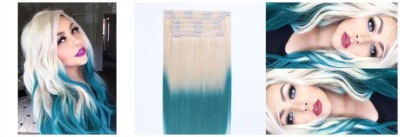 CLIPS LUXE 240G OMBRE PLATINE/BLEU TIE AND DYE