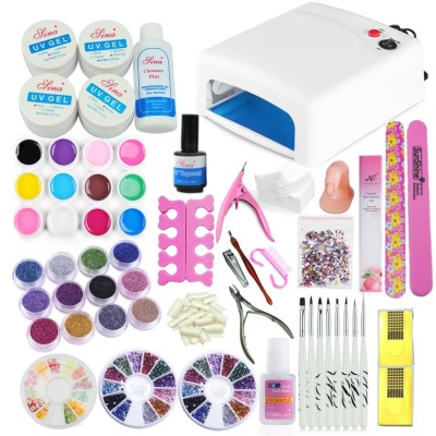KIT Lampe 12 Couleurs Gel UV Ongles Colle Pinceau Cuticule Nail Art